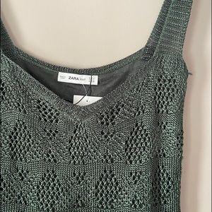 ✨NEW✨ Zara Knit Green Crochet Crop